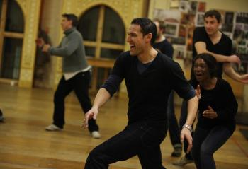 Image of Nick Khan and Karen Bryson rehearsing the jig Playing Shakespeare 2010